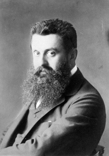 西奧多.赫茨爾(1860-1904)想要建立「猶太國」。1896年他於同名著作中說明他心中的建國藍圖。