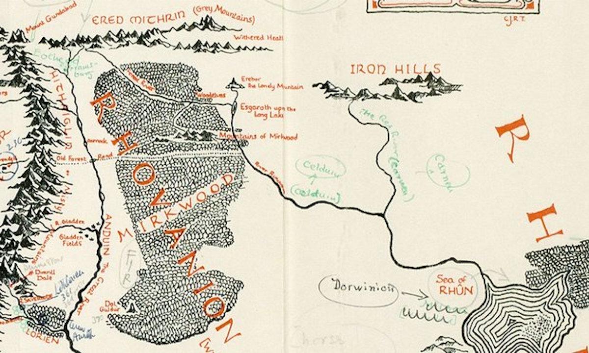 托爾金親手註釋中土大陸地圖