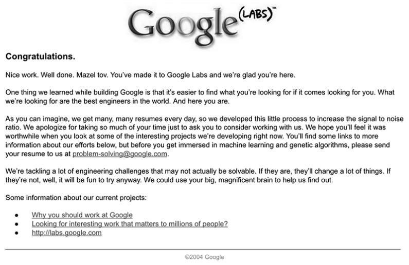 成功解答後的歡迎信函。© Google, Inc.(Credit to Google)